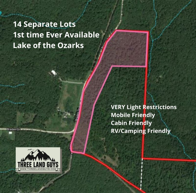 14 Separate Lots 1st time Ever Available Lake of the Ozarks